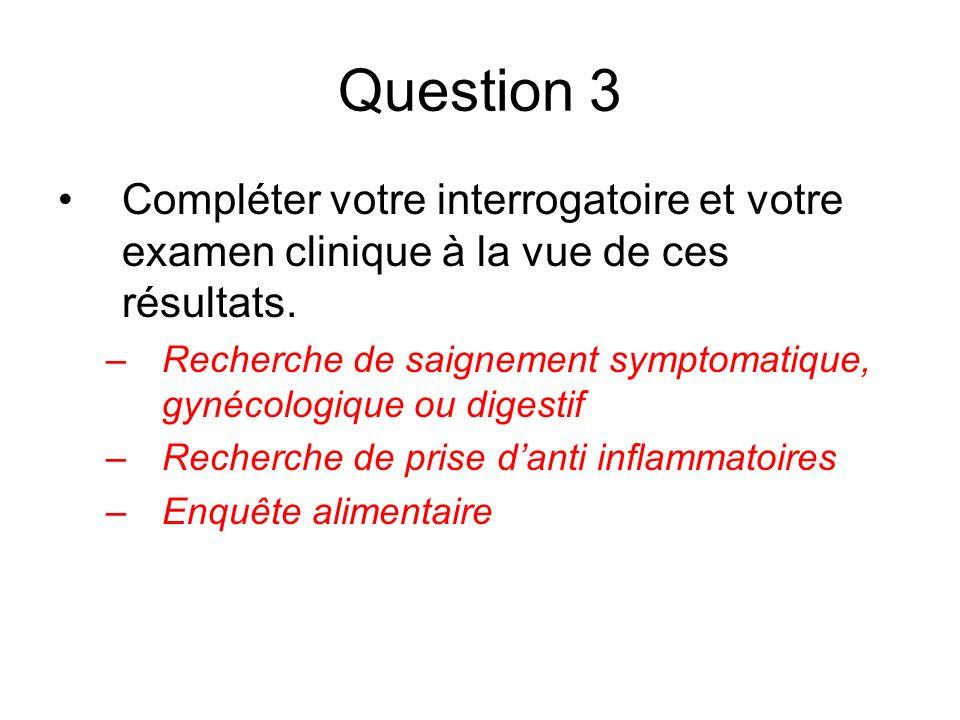 Question 3 Compléter votre interrogatoire et votre examen clinique à la vue de ces résultats. –Recherche de saignement symptomatique, gynécologique ou