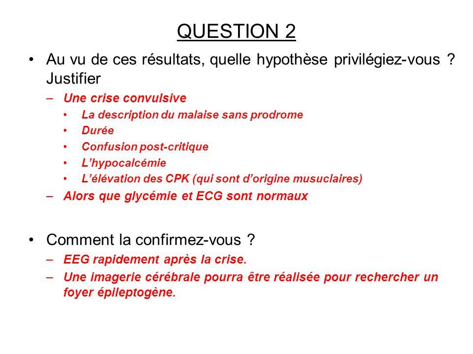 QUESTION 2 Au vu de ces résultats, quelle hypothèse privilégiez-vous ? Justifier –Une crise convulsive La description du malaise sans prodrome Durée C