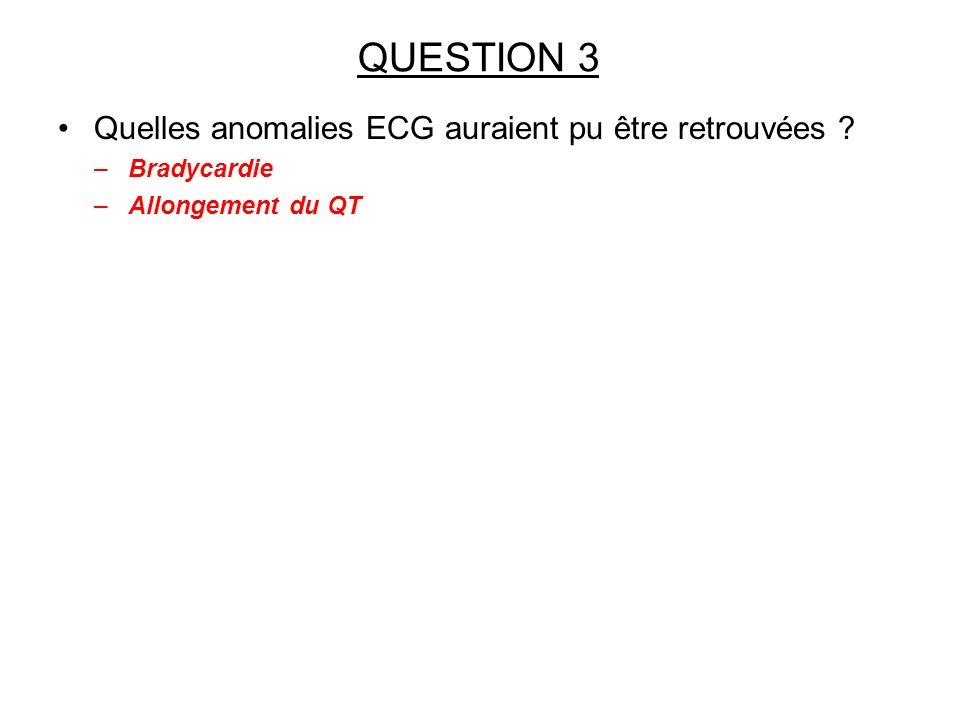 Quelles anomalies ECG auraient pu être retrouvées ? –Bradycardie –Allongement du QT QUESTION 3