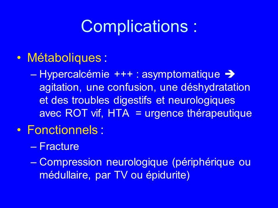 Complications : Métaboliques : –Hypercalcémie +++ : asymptomatique agitation, une confusion, une déshydratation et des troubles digestifs et neurologi