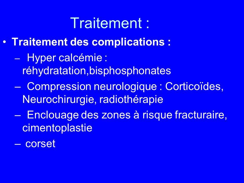 Traitement : Traitement des complications : – Hyper calcémie : réhydratation,bisphosphonates –Compression neurologique : Corticoïdes, Neurochirurgie,