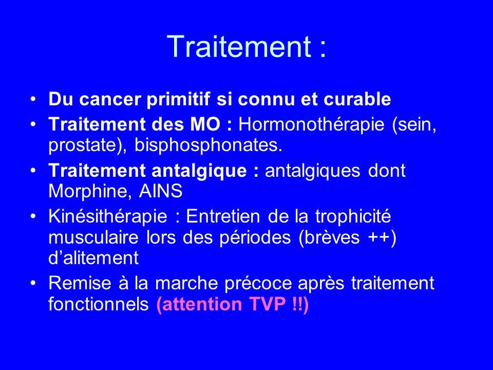 Traitement : Du cancer primitif si connu et curable Traitement des MO : Hormonothérapie (sein, prostate), bisphosphonates. Traitement antalgique : ant