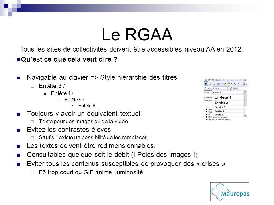 Le RGAA Navigable au clavier => Style hiérarchie des titres Entête 3 / Entête 4 / Entête 5 / Entête 6… Toujours y avoir un équivalent textuel Texte po