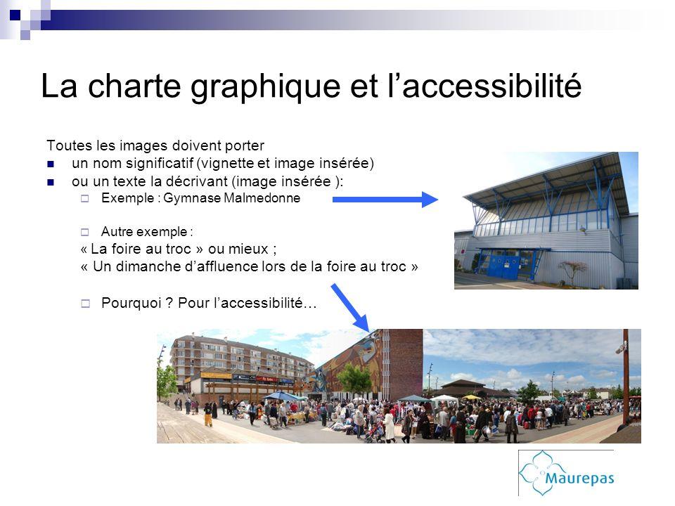La charte graphique et laccessibilité Toutes les images doivent porter un nom significatif (vignette et image insérée) ou un texte la décrivant (image