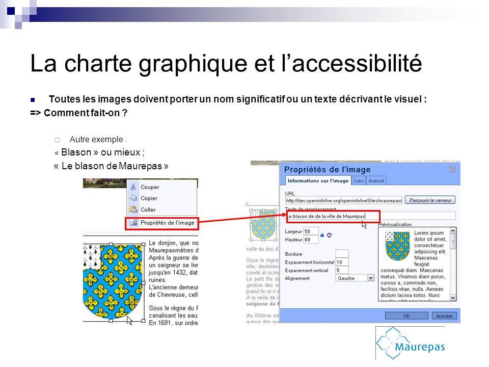 La charte graphique et laccessibilité Toutes les images doivent porter un nom significatif ou un texte décrivant le visuel : => Comment fait-on ? Autr