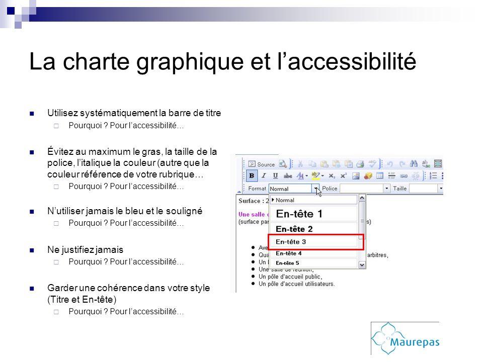 La charte graphique et laccessibilité Utilisez systématiquement la barre de titre Pourquoi ? Pour laccessibilité… Évitez au maximum le gras, la taille