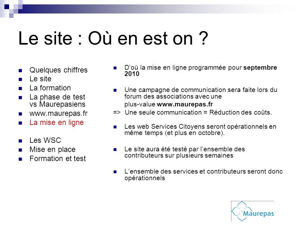 Le site : Où en est on ? Quelques chiffres Le site La formation La phase de test vs Maurepasiens www.maurepas.fr La mise en ligne Les WSC Mise en plac