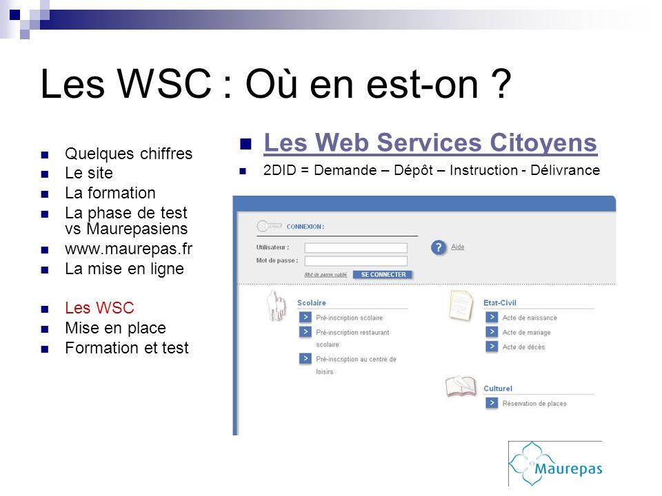 Les WSC : Où en est-on ? Quelques chiffres Le site La formation La phase de test vs Maurepasiens www.maurepas.fr La mise en ligne Les WSC Mise en plac