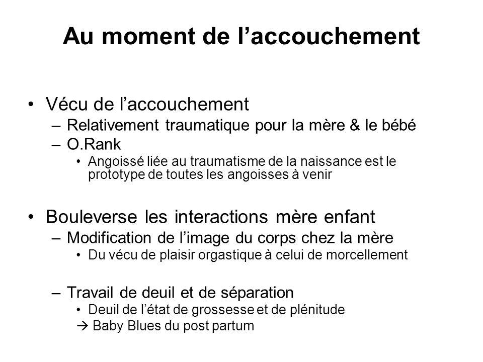 Au moment de laccouchement Vécu de laccouchement –Relativement traumatique pour la mère & le bébé –O.Rank Angoissé liée au traumatisme de la naissance