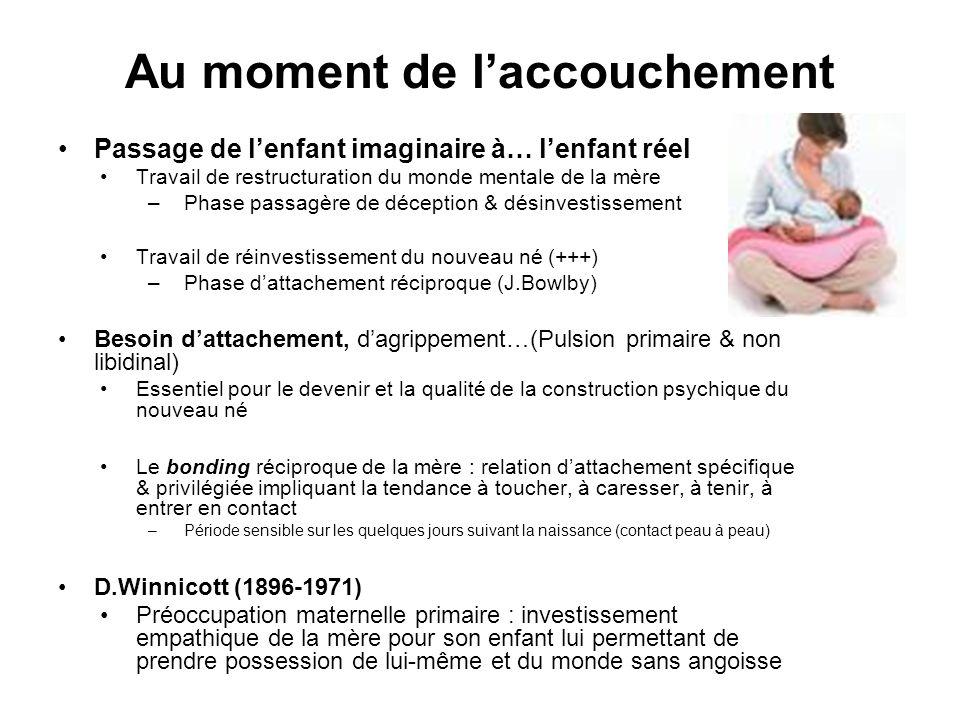 Au moment de laccouchement Passage de lenfant imaginaire à… lenfant réel Travail de restructuration du monde mentale de la mère –Phase passagère de dé
