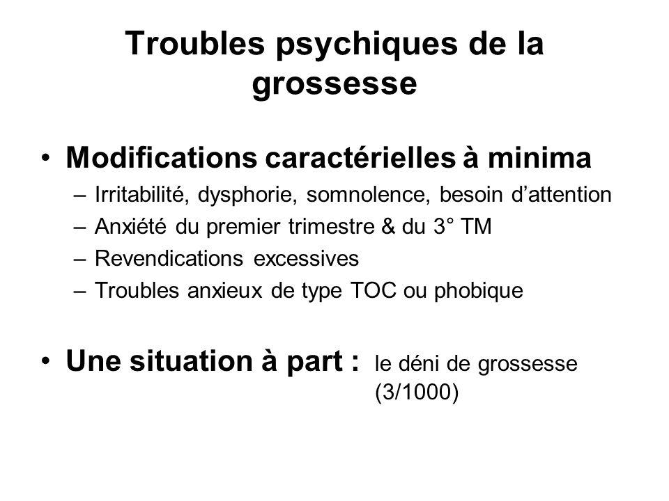 Troubles psychiques de la grossesse Modifications caractérielles à minima –Irritabilité, dysphorie, somnolence, besoin dattention –Anxiété du premier