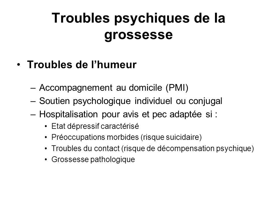 Troubles psychiques de la grossesse Troubles de lhumeur –Accompagnement au domicile (PMI) –Soutien psychologique individuel ou conjugal –Hospitalisati