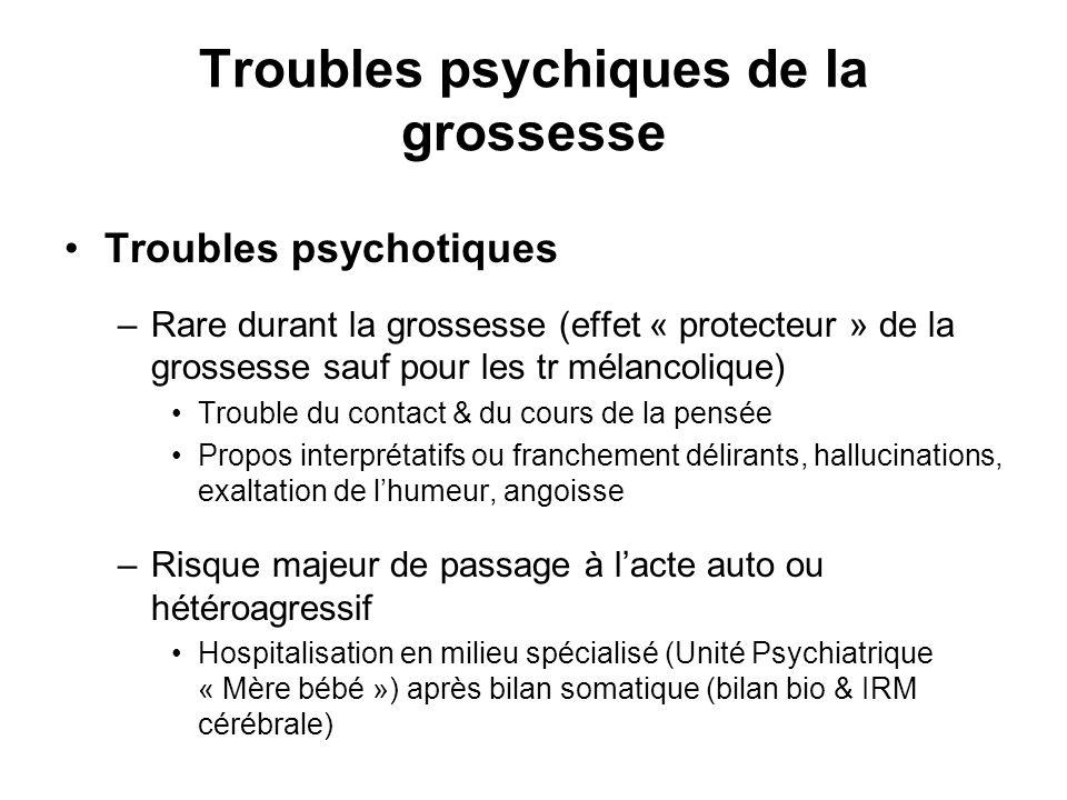 Troubles psychiques de la grossesse Troubles psychotiques –Rare durant la grossesse (effet « protecteur » de la grossesse sauf pour les tr mélancoliqu