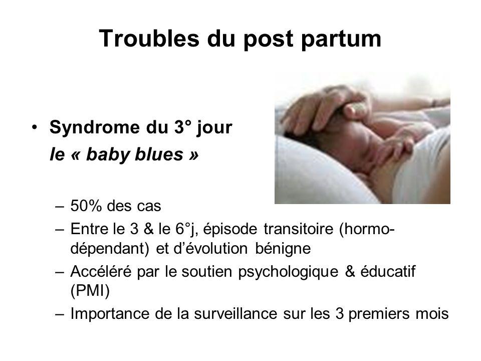 Troubles du post partum Syndrome du 3° jour le « baby blues » –50% des cas –Entre le 3 & le 6°j, épisode transitoire (hormo- dépendant) et dévolution