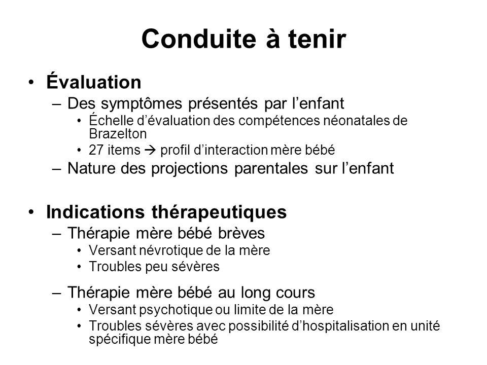 Conduite à tenir Évaluation –Des symptômes présentés par lenfant Échelle dévaluation des compétences néonatales de Brazelton 27 items profil dinteract