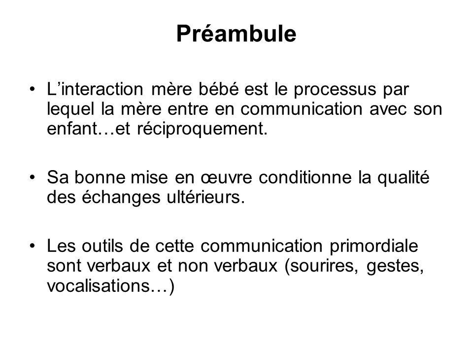 Préambule Létude des interactions mère-enfant est une science récente (1970) –T.B Brazelton aux USA –M.Soulé en France –S.Lebovici & B.