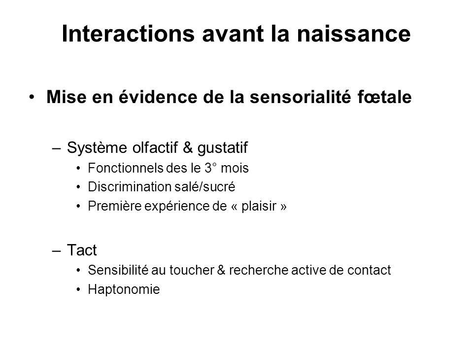 Interactions avant la naissance Mise en évidence de la sensorialité fœtale –Système olfactif & gustatif Fonctionnels des le 3° mois Discrimination sal