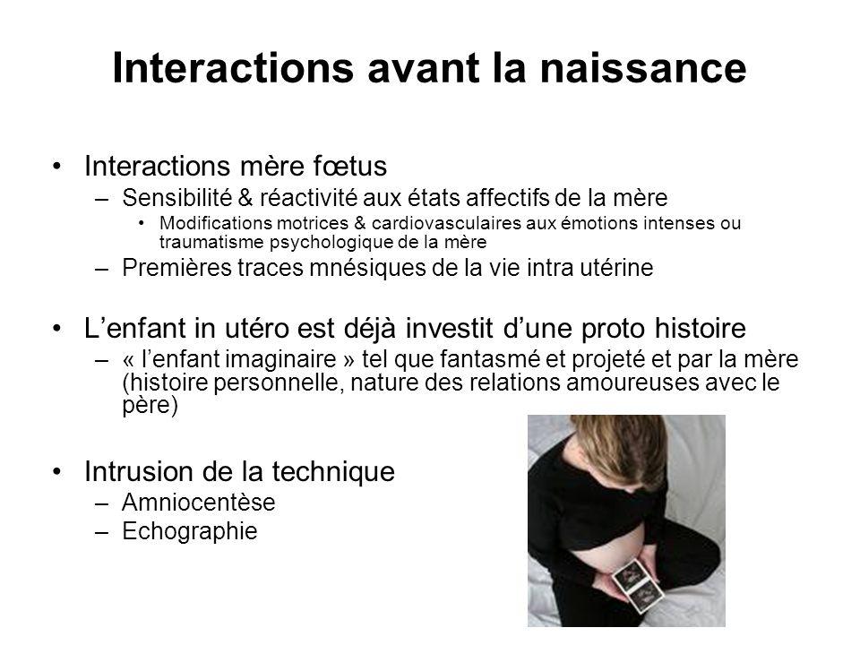 Interactions avant la naissance Interactions mère fœtus –Sensibilité & réactivité aux états affectifs de la mère Modifications motrices & cardiovascul