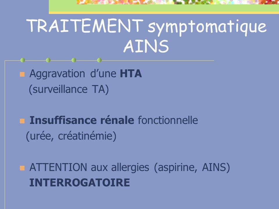 TRAITEMENT symptomatique AINS Aggravation dune HTA (surveillance TA) Insuffisance rénale fonctionnelle (urée, créatinémie) ATTENTION aux allergies (as