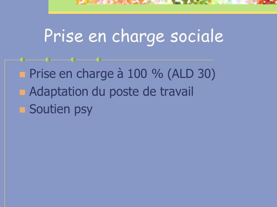 Prise en charge sociale Prise en charge à 100 % (ALD 30) Adaptation du poste de travail Soutien psy