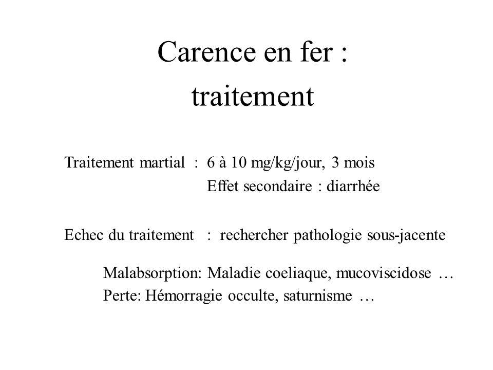 Carence en fer : traitement Traitement martial:6 à 10 mg/kg/jour, 3 mois Effet secondaire : diarrhée Echec du traitement:rechercher pathologie sous-ja