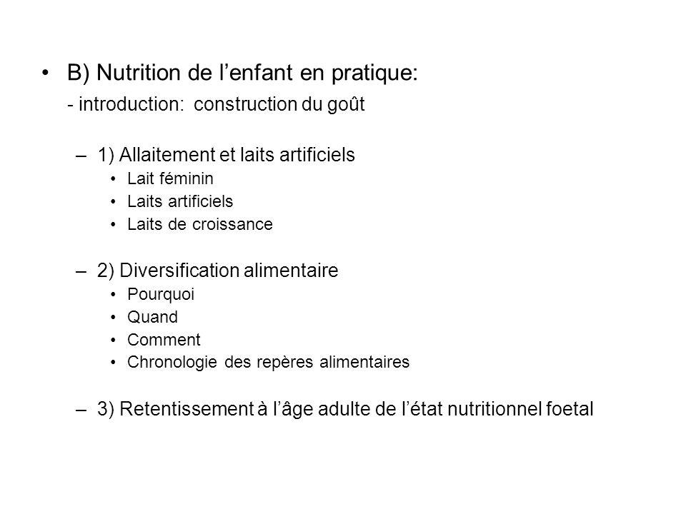B) Nutrition de lenfant en pratique: - introduction: construction du goût –1) Allaitement et laits artificiels Lait féminin Laits artificiels Laits de