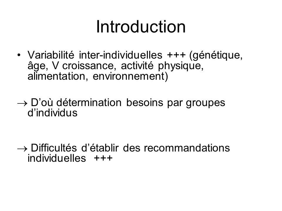 Variabilité inter-individuelles +++ (génétique, âge, V croissance, activité physique, alimentation, environnement) Doù détermination besoins par group
