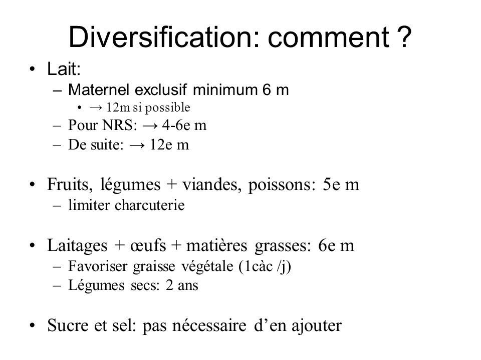 Diversification: comment ? Lait: –Maternel exclusif minimum 6 m 12m si possible –Pour NRS: 4-6e m –De suite: 12e m Fruits, légumes + viandes, poissons