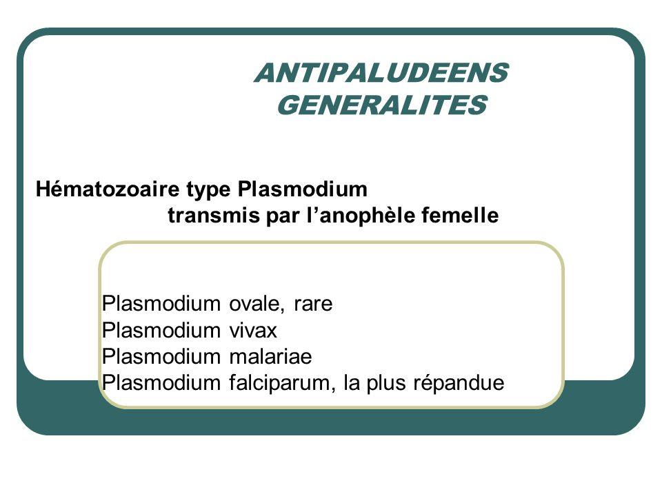 ANTIPALUDEENS GENERALITES Hématozoaire type Plasmodium transmis par lanophèle femelle Plasmodium ovale, rare Plasmodium vivax Plasmodium malariae Plas
