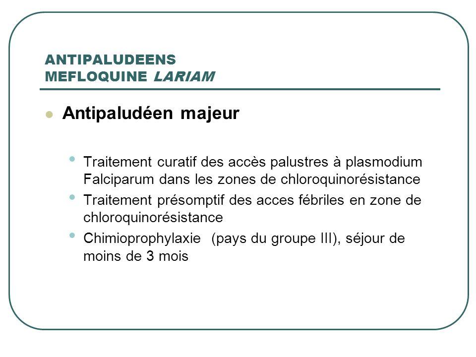 ANTIPALUDEENS MEFLOQUINE LARIAM Antipaludéen majeur Traitement curatif des accès palustres à plasmodium Falciparum dans les zones de chloroquinorésist