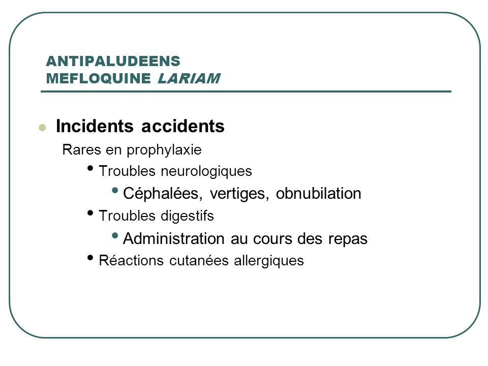 ANTIPALUDEENS MEFLOQUINE LARIAM Incidents accidents Rares en prophylaxie Troubles neurologiques Céphalées, vertiges, obnubilation Troubles digestifs A