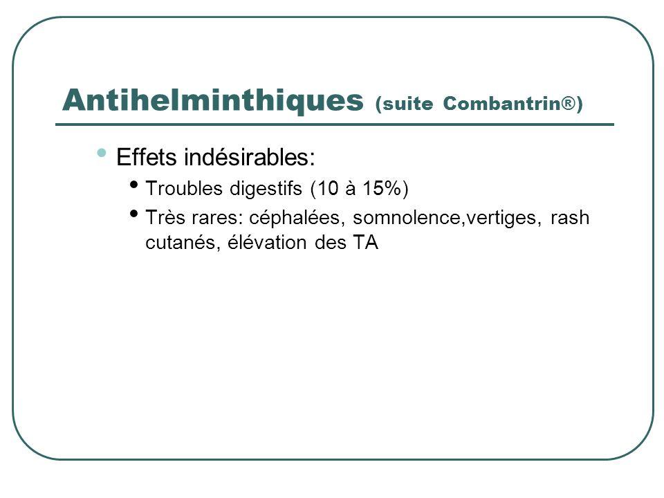 Antihelminthiques (suite Combantrin®) Effets indésirables: Troubles digestifs (10 à 15%) Très rares: céphalées, somnolence,vertiges, rash cutanés, élé