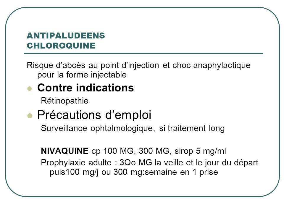 ANTIPALUDEENS CHLOROQUINE Risque dabcès au point dinjection et choc anaphylactique pour la forme injectable Contre indications Rétinopathie Précaution