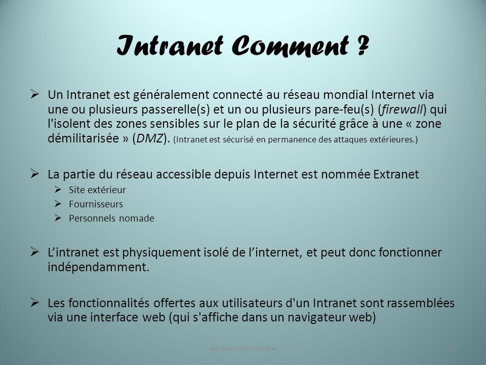 Intranet Comment ? Un Intranet est généralement connecté au réseau mondial Internet via une ou plusieurs passerelle(s) et un ou plusieurs pare-feu(s)
