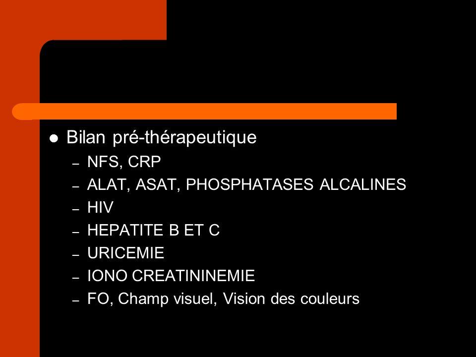 Bilan pré-thérapeutique – NFS, CRP – ALAT, ASAT, PHOSPHATASES ALCALINES – HIV – HEPATITE B ET C – URICEMIE – IONO CREATININEMIE – FO, Champ visuel, Vi