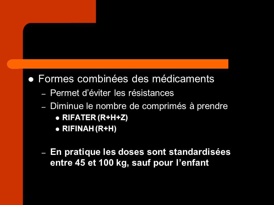 Formes combinées des médicaments – Permet déviter les résistances – Diminue le nombre de comprimés à prendre RIFATER (R+H+Z) RIFINAH (R+H) – En pratiq