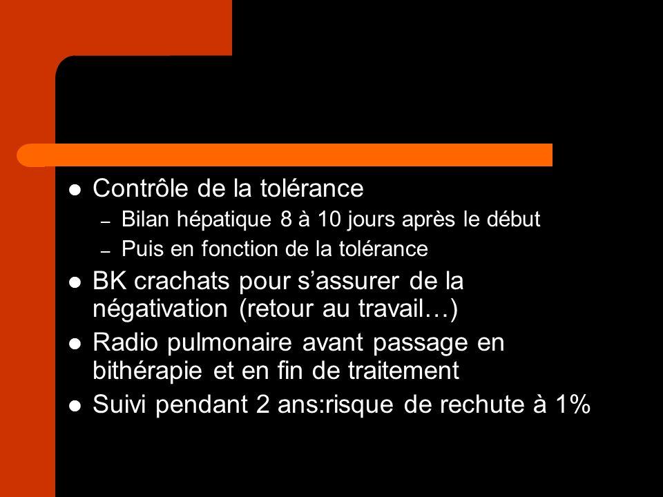 Contrôle de la tolérance – Bilan hépatique 8 à 10 jours après le début – Puis en fonction de la tolérance BK crachats pour sassurer de la négativation