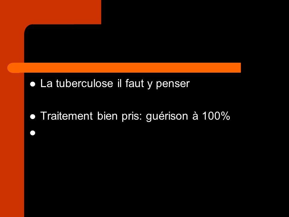 La tuberculose il faut y penser Traitement bien pris: guérison à 100%