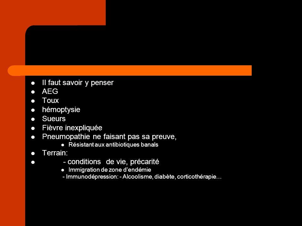 Radio pulmonaire: Image évocatrice: – Lobes supérieurs Segments postérieurs – Images nodulaires – Cavernes – Aspect rétractile Nimporte quelle pneumopathie ne faisant pas sa preuve