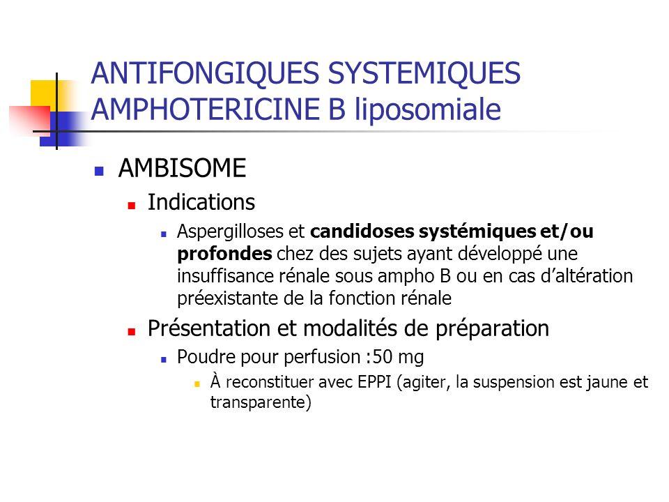 ANTIFONGIQUES SYSTEMIQUES AMPHOTERICINE B liposomiale AMBISOME Indications Aspergilloses et candidoses systémiques et/ou profondes chez des sujets aya