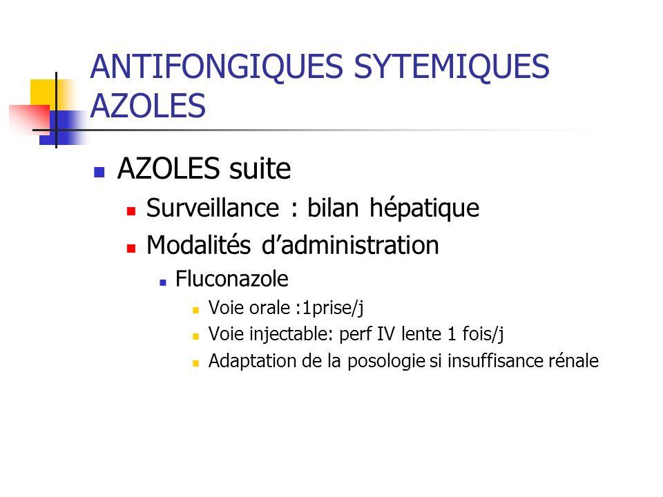 ANTIFONGIQUES SYTEMIQUES AZOLES AZOLES suite Surveillance : bilan hépatique Modalités dadministration Fluconazole Voie orale :1prise/j Voie injectable