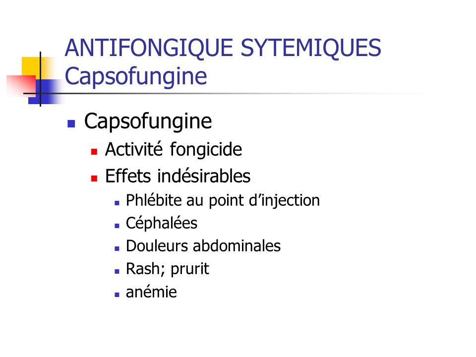 ANTIFONGIQUE SYTEMIQUES Capsofungine Capsofungine Activité fongicide Effets indésirables Phlébite au point dinjection Céphalées Douleurs abdominales R