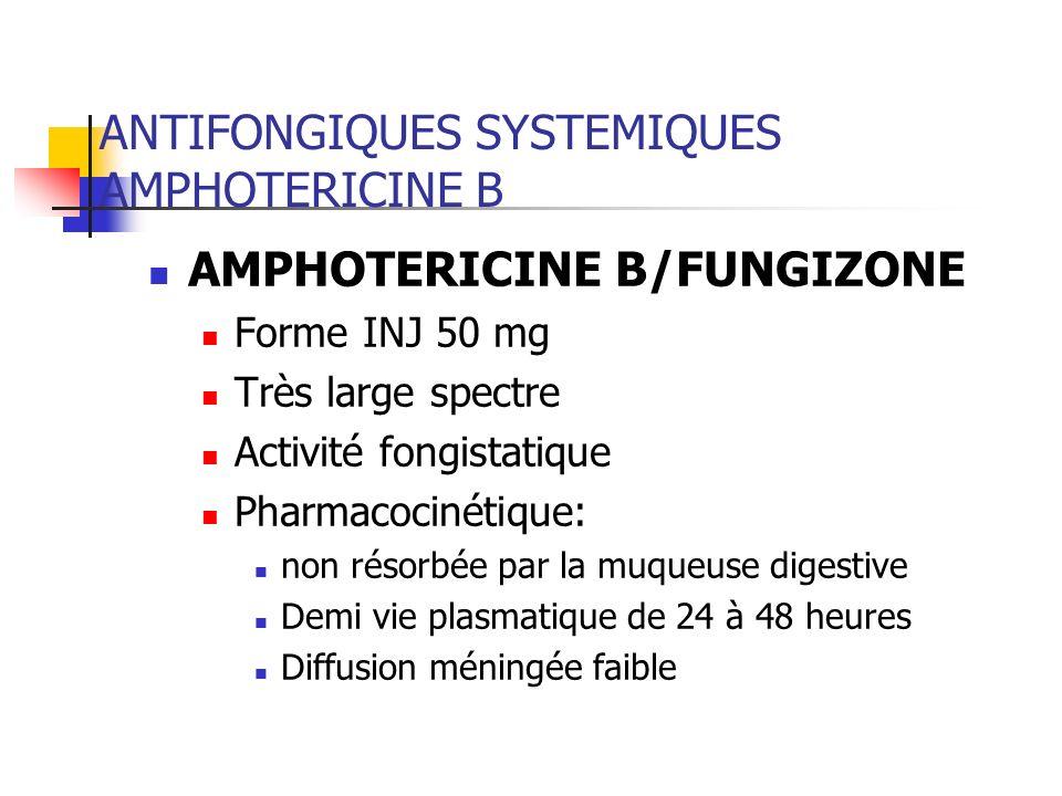 ANTIFONGIQUES SYSTEMIQUES AMPHOTERICINE B Réactions dintolérance fréquentes en début de perfusion : frissons, fièvre, céphalées, troubles digestifs, malaise général Prémédication systématique: glucocorticoïdes, antihistaminiques et analgésiques antipyrétiques Néphrotoxicité Tubulopathie distale généralement réversible à larrêt du traitement