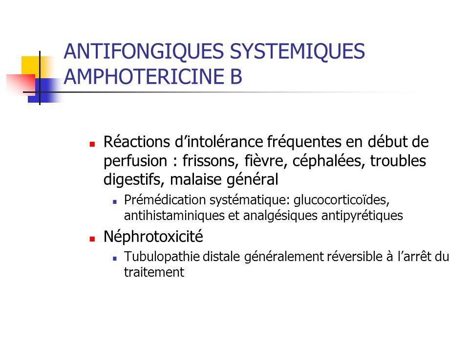 ANTIFONGIQUES SYSTEMIQUES AMPHOTERICINE B Réduite par une hydratation suffisante et le respect dune dose cumulée de 2gr - Réactions locales (thrombophlébites) - Modalités dadministration - Perfusions de 2 à 6 heures.