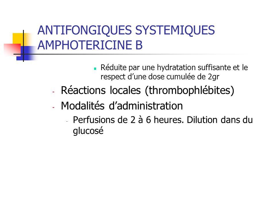 ANTIFONGIQUES SYSTEMIQUES AMPHOTERICINE B liposomiale AMBISOME Indications Aspergilloses et candidoses systémiques et/ou profondes chez des sujets ayant développé une insuffisance rénale sous ampho B ou en cas daltération préexistante de la fonction rénale Présentation et modalités de préparation Poudre pour perfusion :50 mg À reconstituer avec EPPI (agiter, la suspension est jaune et transparente)