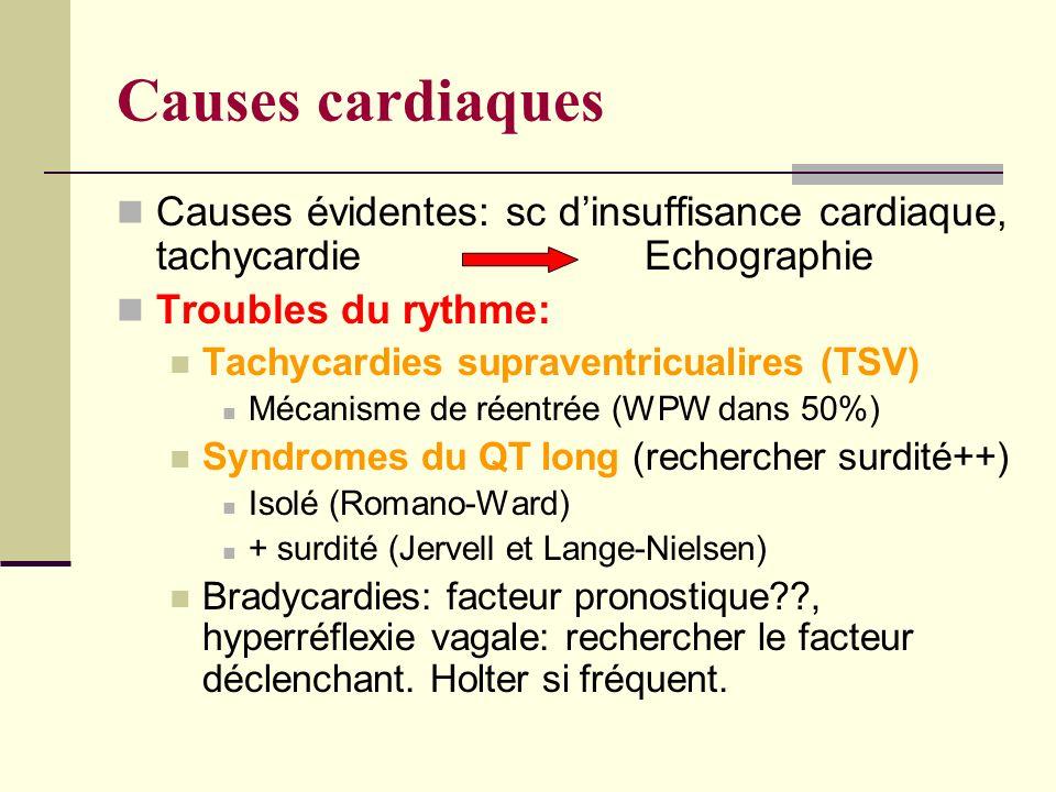 Causes cardiaques Causes évidentes: sc dinsuffisance cardiaque, tachycardie Echographie Troubles du rythme: Tachycardies supraventricualires (TSV) Mécanisme de réentrée (WPW dans 50%) Syndromes du QT long (rechercher surdité++) Isolé (Romano-Ward) + surdité (Jervell et Lange-Nielsen) Bradycardies: facteur pronostique??, hyperréflexie vagale: rechercher le facteur déclenchant.
