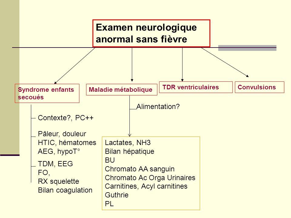 Examen neurologique anormal sans fièvre Syndrome enfants secoués Contexte?, PC++ Pâleur, douleur HTIC, hématomes AEG, hypoT° TDM, EEG FO, RX squelette