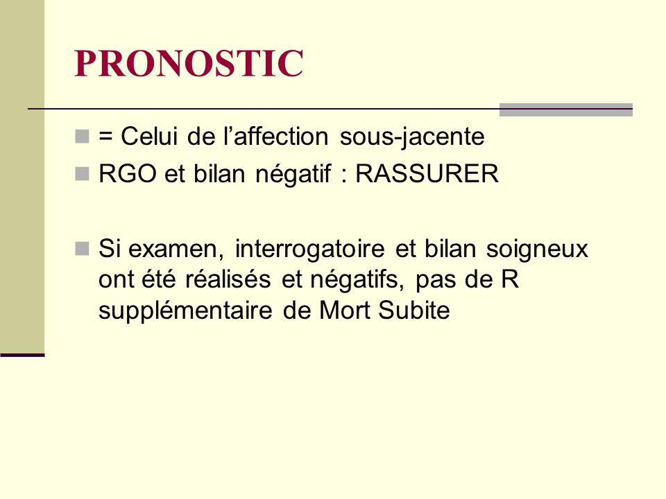 PRONOSTIC = Celui de laffection sous-jacente RGO et bilan négatif : RASSURER Si examen, interrogatoire et bilan soigneux ont été réalisés et négatifs, pas de R supplémentaire de Mort Subite