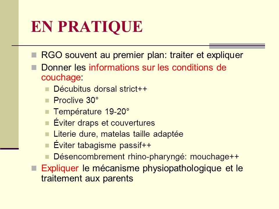 EN PRATIQUE RGO souvent au premier plan: traiter et expliquer Donner les informations sur les conditions de couchage: Décubitus dorsal strict++ Procli