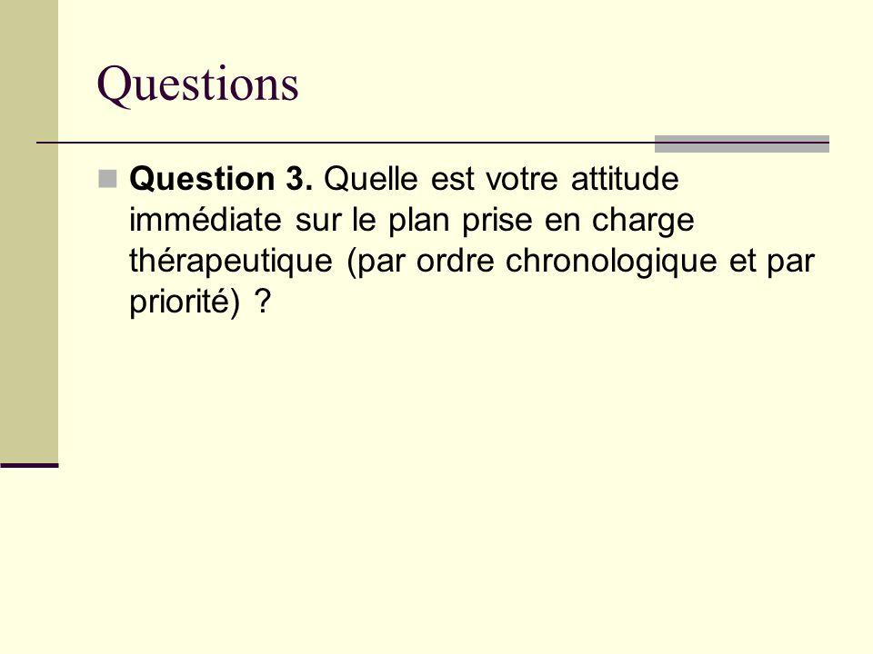 Questions Question 3. Quelle est votre attitude immédiate sur le plan prise en charge thérapeutique (par ordre chronologique et par priorité) ?